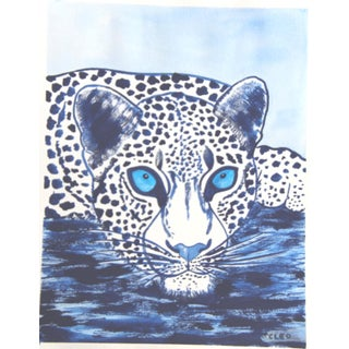Snow Leopard in Blue by Cleo Plowden For Sale
