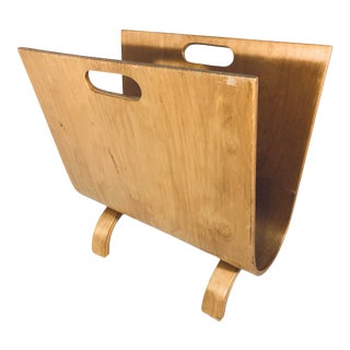 Alvar Aalto Style Bent Wood Magazine Rack For Sale