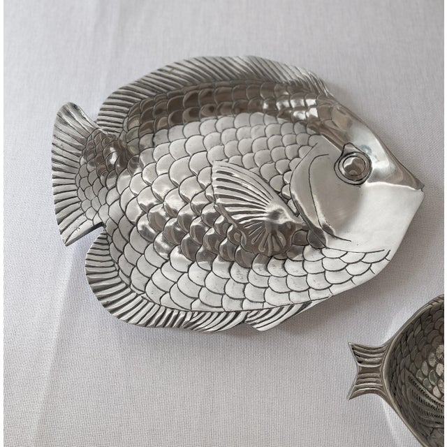 Pewter Fish Platter and Bowl Set - Set of 2 For Sale - Image 4 of 10