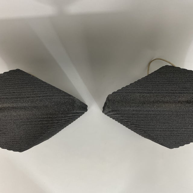1980s Grey Postmodern Stepped Ceramic Lamp Pair For Sale - Image 11 of 13