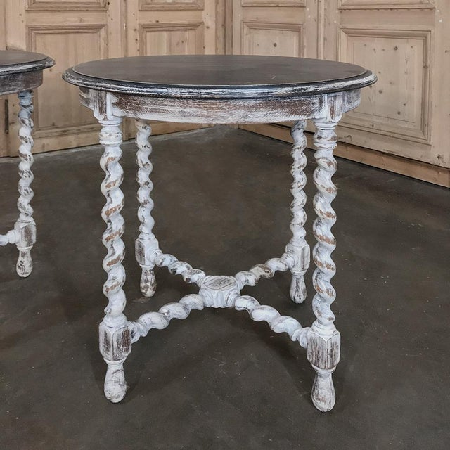 Pair Antique Barley Twist Painted End Tables feature a two-toned effect with distressed, patinaed painted finish making...