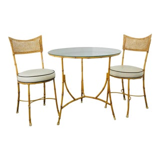 Vintage Mid Century Iron Faux Bamboo Dining Table and Chairs Set of 3 For Sale