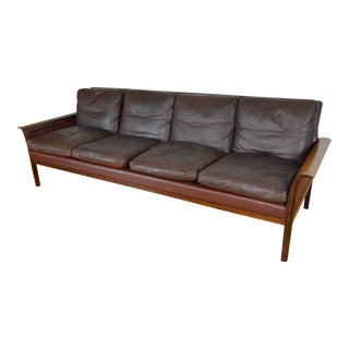 Knut Saeter for Vatne Mobler Danish Modern Rosewood and Leather Sofa For Sale