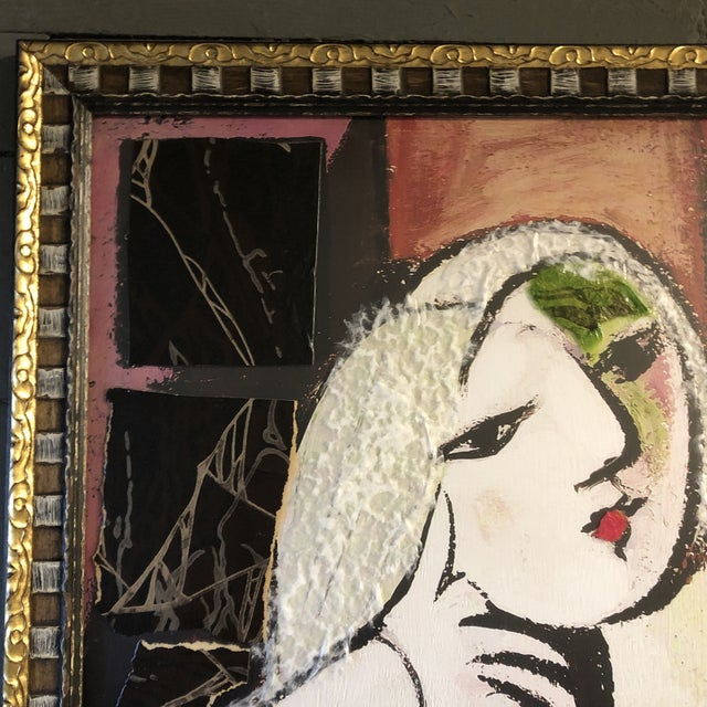 Original Contemporary Large Abstract Modernist Collage Picasso Style Female Reading Framed For Sale - Image 9 of 11