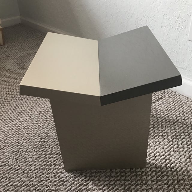 Contemporary Contemporary Gray Lacquered Wooden Stool For Sale - Image 3 of 8