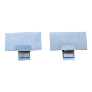 Ruhlmann Art Deco Silvered Bronze Sconces with Alabaster Shades - a Pair For Sale