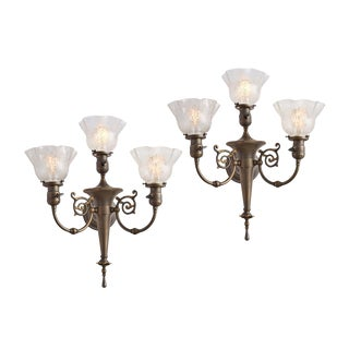 Pair of Stately 3-light Victorian Torch Sconces Circa 1910