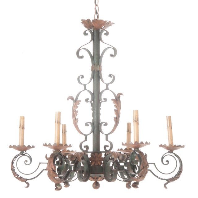 French 19th Century Painted Iron Chandelier - Image 7 of 7