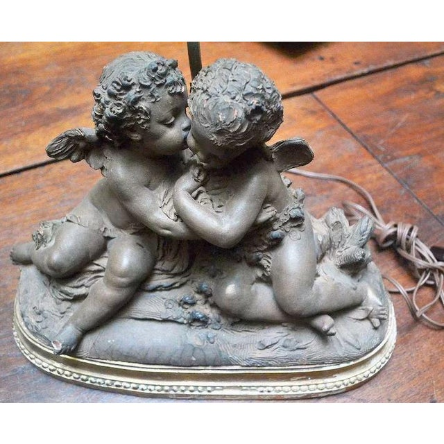 French 19th Century Signed Terracotta Kissing Putti/Cherub Statue Lamp For Sale - Image 4 of 10