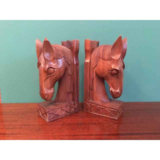 Vintage Wood Horsehead Bookends - A Pair - Image 2 of 7