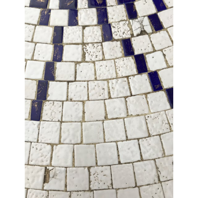 Amazing Mosaic Tile Sunburst Brass Coffee Table Luberto For Sale In New York - Image 6 of 13