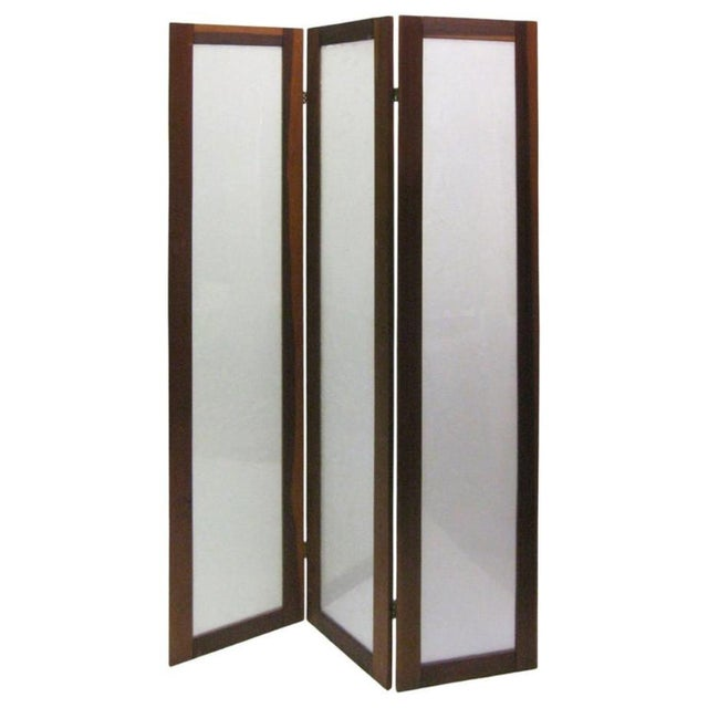 Late 20th Century Textured Fiberglass and Teak Folding Screen For Sale - Image 5 of 5