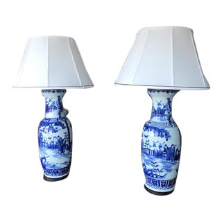 Early 20th Century Blue and White Antique Lamps With Silk Shades For Sale