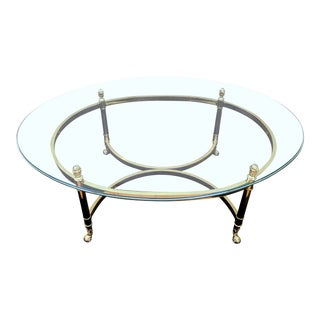 Hollywood Regency Brass Finish Glass Coffee Table For Sale