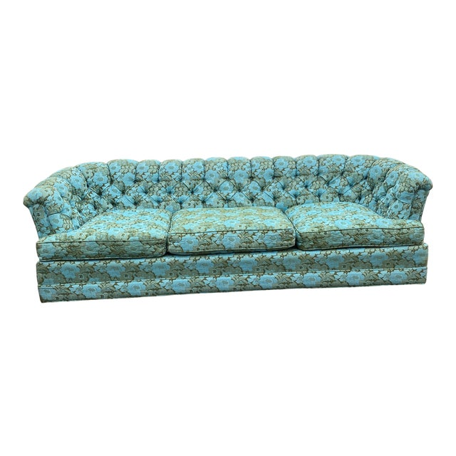 Vintage Tufted Floral Chesterfield Sofa For Sale