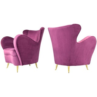 Italian Mid-Century Velvet Armchairs by ISA Bergamo, Set of Two, 1950s For Sale