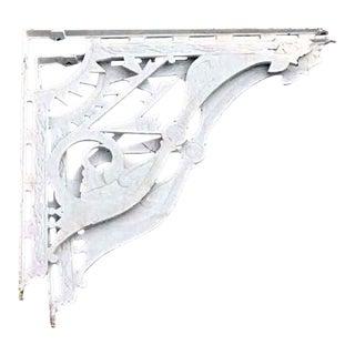 Antique Eastlake White Cast Iron Shelf Brackets - a Pair For Sale