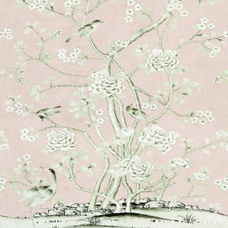 Sample - Schumacher X Mary McDonald Chinois Palais Wallpaper in Blush Conch For Sale