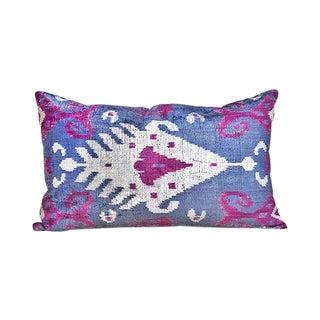 Kim Salmela Turkish Silk Velvet Ikat Lumbar Pillow For Sale