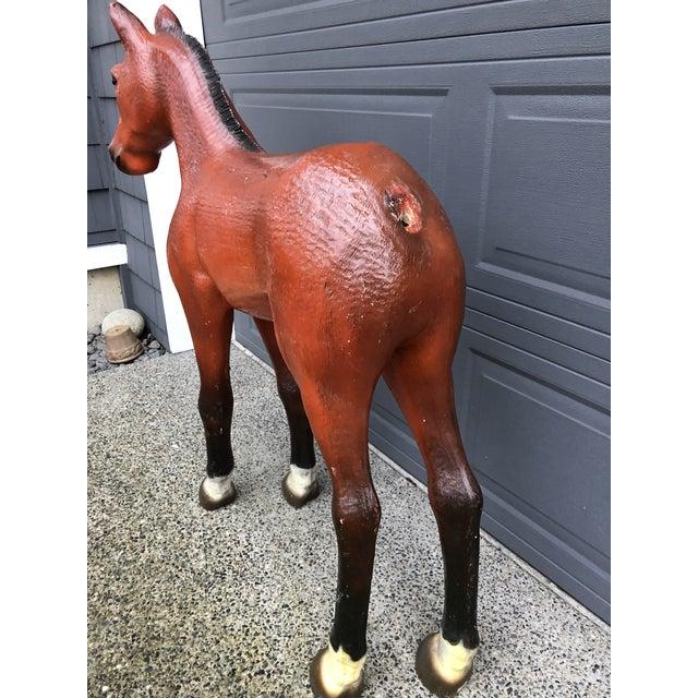 Brown Vintage Resin Colt Horse Statue For Sale - Image 8 of 10