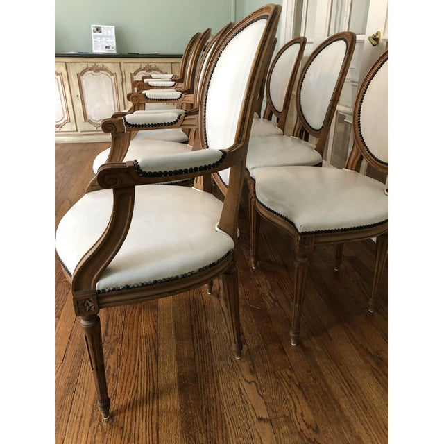 Baker Furniture Leather Dining Chairs - Set of 8 | Chairish