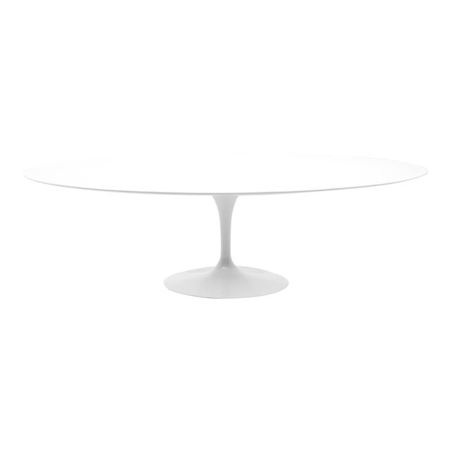 Eero Saarinen Oval Tulip Base Dining Table, White Laminate Top For Sale