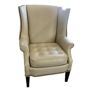 Vintage Cream Off White Leather Wingback Chair With Tufted Seat For Sale