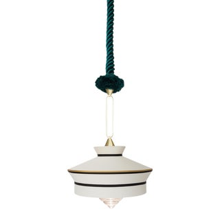 Contardi Calypso Martinique Pendant Light in Moss Green and White For Sale