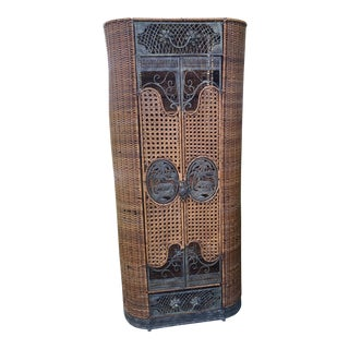 Wicker and Metal Boho Style Linen Cabinet For Sale