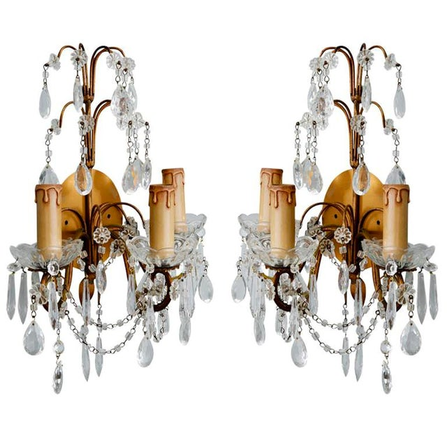 Pair of French Three-Arm Crystal and Brass Wall Sconces - Image 2 of 6