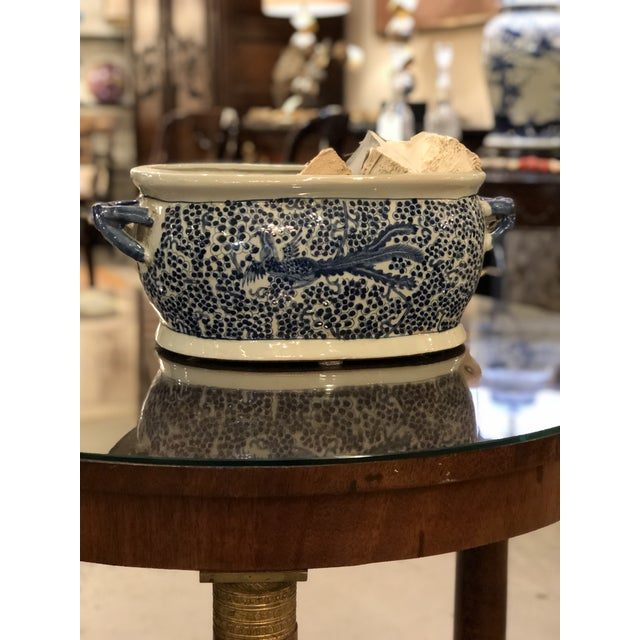 Asian Chinese Oblong Blue & White Planter For Sale - Image 3 of 6