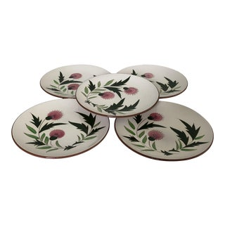 """Midcentury Stangl Pottery """"Thistle """" Salad Plates S/5 For Sale"""