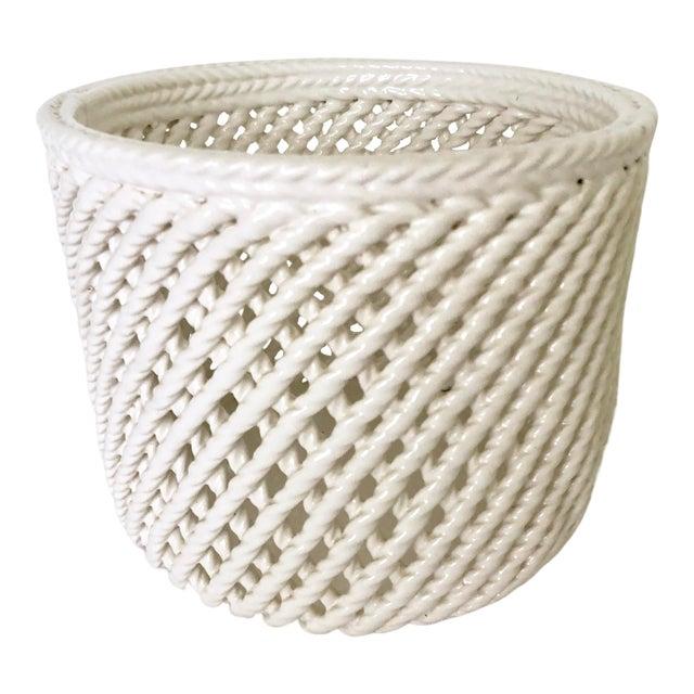 Vintage White Ceramic Lattice Flower Pot For Sale