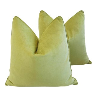 Custom-Tailored Apple Green Velvet Feather/Down Pillows - A Pair For Sale