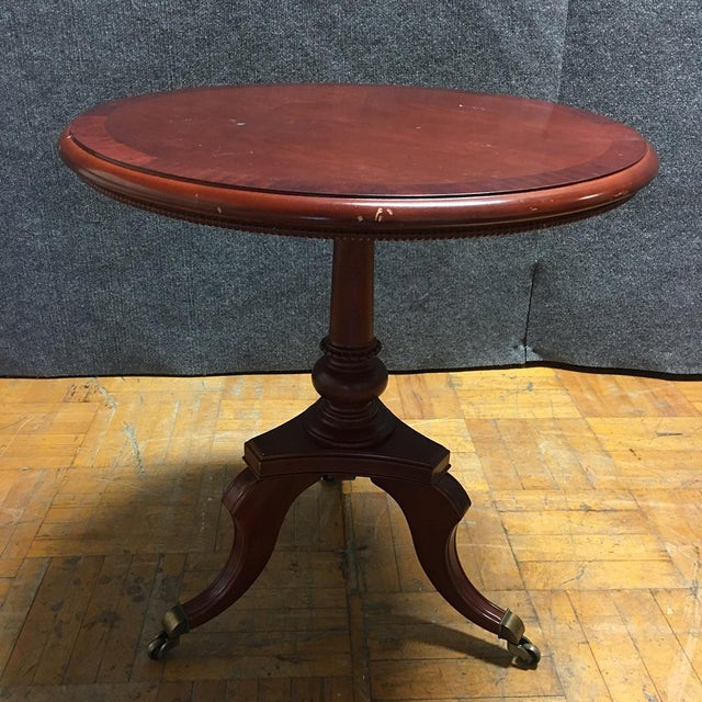 Traditional Cherry-Wood Drum Table W/ Brass Casters - Image 3 of 8