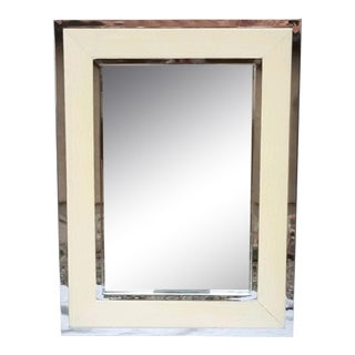 White Leather and Chrome Rectangular Wall Mirror For Sale