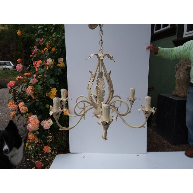1980's Scrolling Iron Chandelier For Sale - Image 9 of 9