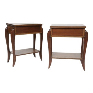 1950s Vintage French Nightstands With Drawer and Shelf- A Pair For Sale