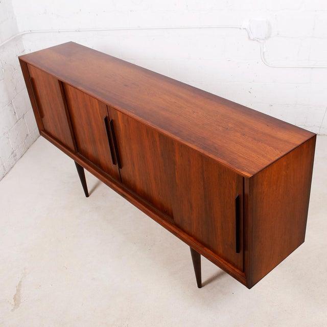 Stately Danish Modern Rosewood 4 Door Sideboard - Image 4 of 9