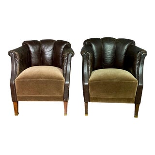 Late 1930s Channel-Back Leather Club Chairs - a Pair For Sale
