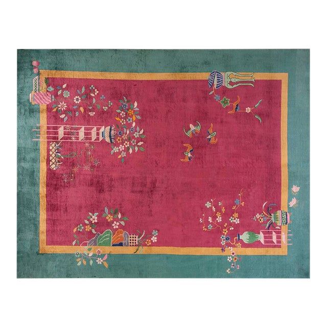 """Chinese Art Deco Pink Rug - 8'9""""x11'4"""" For Sale"""