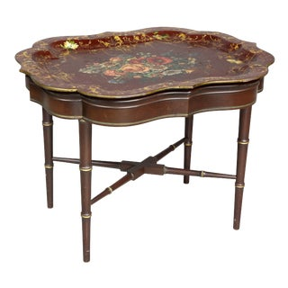 Victorian Papier Mache Tray Table For Sale