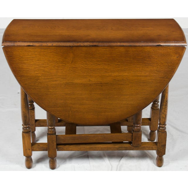Brown 1920s Jacobean Turned Gate Leg Drop Leaf Side Table For Sale - Image 8 of 10