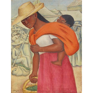 """Latin American Painting by Jesus Ortiz Tajonar, """"Mother and Child at Market"""" For Sale"""
