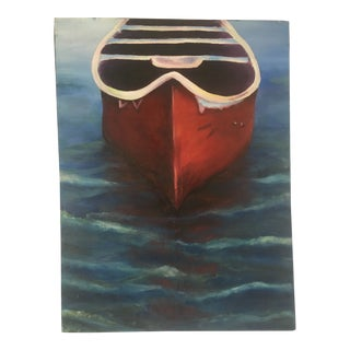 Vintage Oil on Canvas Painting of Row Boat For Sale