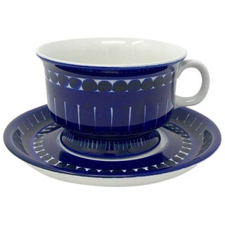 1960s Scandinavian Modern Ulla Procope for Arabia of Finland Valencia Cup and Saucer - 2 Pieces For Sale