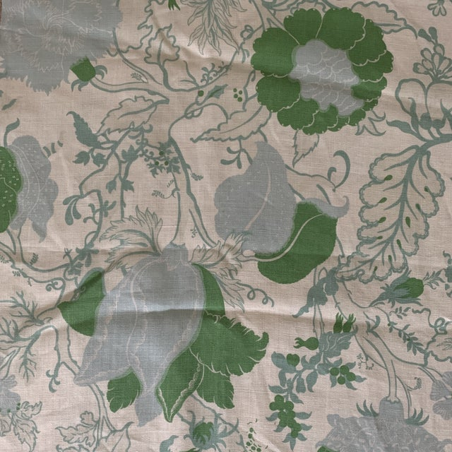 Designer Blue and Green Floral Linen Fabric. We don't recall the designer on this one. Great large scale floral in pretty...