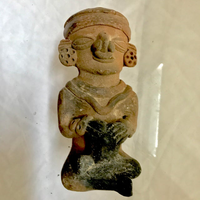 Pre-Columbian Mayan or Aztec Seated Terracotta Figurine - Image 2 of 7