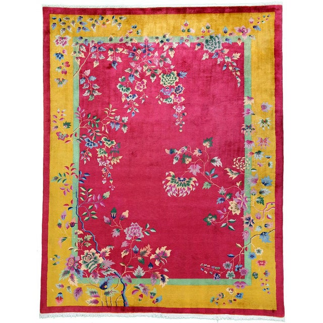 Red 1920s Vintage Nichol Art Deco Chinese Rug - 9′ × 11′4″ For Sale - Image 8 of 8