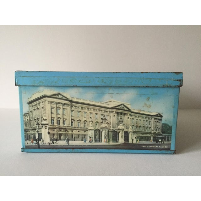 1940's Elkes Ltd. Trafalgar Large Square English Biscuit Tin Box With Lid For Sale - Image 9 of 11